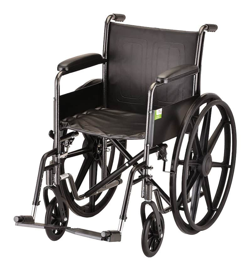 NOVA Medical Products 18 inch Steel Wheelchair with Fixed Arms and Footrests