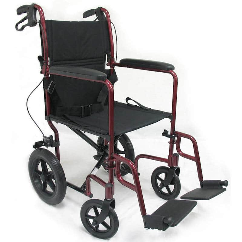 Karman LT-1000HB Lightweight Transport Chair with Companion Brakes