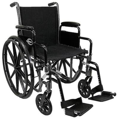 Karman LT-700T Lightweight Wheelchair with Removable Armrest, 18 inch Seat Silver Vein