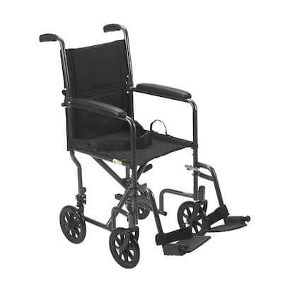 Drive Medical Lightweight Steel Transport Wheelchair, Fixed Full Arms, 19 inch Seat